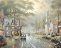 hometown evening (hometown memories iii) by thomas kinkade
