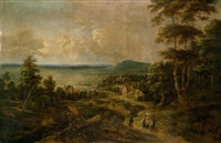 blick über eine weite landschaft (in der umgebung von brüssel?), im vordergrund bäuerliche staffagefiguren by lucas van uden