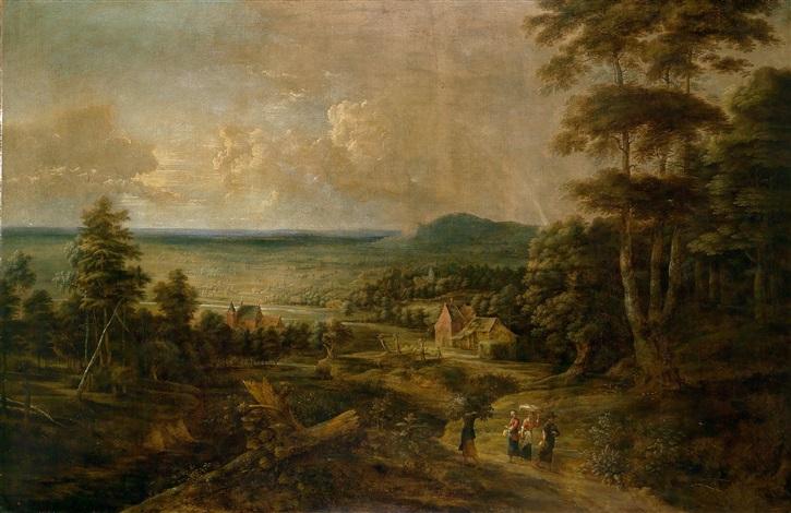 blick über eine weite landschaft in der umgebung von brüssel im vordergrund bäuerliche staffagefiguren by lucas van uden