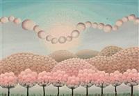 phantastische landschaft mit rosa blühenden kugelbäumchen by ivan rabuzin