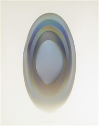 mel 15, an iridescent oval by larry bell