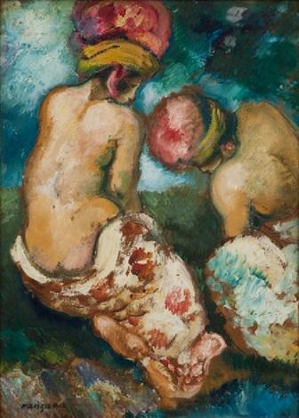 les deux baigneuses au turban by georges manzana pissarro