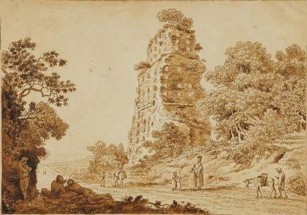 paesaggio con rovina e personaggi by pietro labruzzi