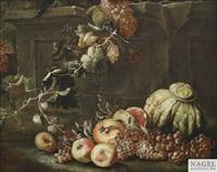 stilleben mit weintrauben, kürbis, äpfeln und granatäpfeln an einem steinsockel by abraham brueghel