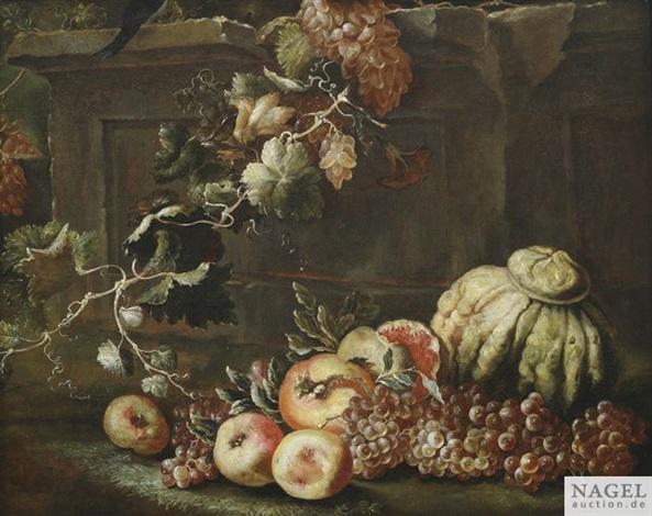 stilleben mit weintrauben kürbis äpfeln und granatäpfeln an einem steinsockel by abraham brueghel
