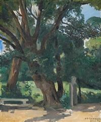 bank unter bäumen by roland-marie gérardin