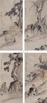 herding horses (+ 3 others; 4 works) by lin jia