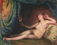 liegender weiblicher akt auf einem divan by erhard langkau