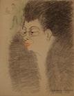 portrait de femme à la fourrure et au serveur by georges manzana pissarro