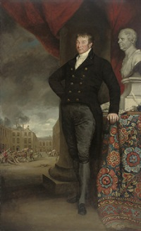 portrait of a gentleman, in a black coat and breeches, standing by a column by henry william pickersgill