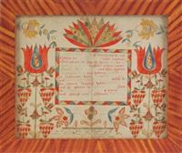 untitled (fraktur birth certificate for elisabeth felfy) by abraham huth