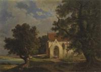 gotische kapelle am ufer eines gebirgssees by hermann herdtle