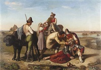 bauern stärken einen erschöpften jakobspilger by francois langlois