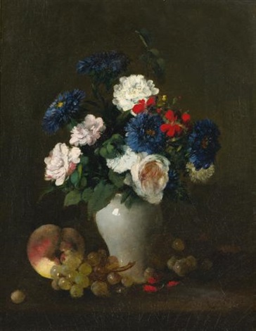 assorted flowers in a vase with grapes and a peach on a table by antoine vollon