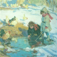 children by a pool of water by vladimir gusev