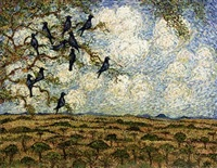 starlings perched in a tree before an extensive landscape by esias bosch