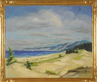hilly coastal scene with sailboat and dunes by elizabeth miller lobingier