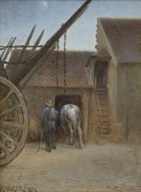 man och häst vid lada by nils kreuger