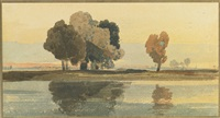 a clump of trees on the banks of a river by john sell cotman