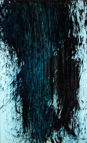 abstrakte komposition in schwarz, türkis, blau und helltürkis by hans hartung