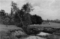 wiesenlandschaft mit weidenden kühen am fluss by charles lespinasse