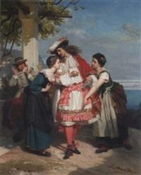 französischer edelmann erregt aufsehen bei italienischen bäuerinnen by eugène ernest hillemacher