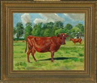 cow in the field by agnes cathinka vilhelmine lunn