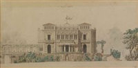 villa berg in stuttgart (pair) (+ sketch, pencil; 3 works) by christian friedrich leins