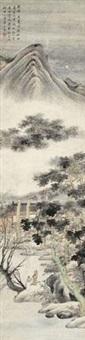 高士论道图 立轴 设色纸本 by ming jian