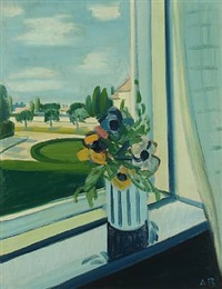 still life with flowers in a window by axel bentzen