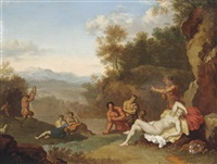 a landscape with a sleeping nymph and satyrs by daniel vertangen