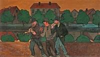 tre sjåare vid fattighusån, göteborg (three wharfies by fattighusån, gothenburg) by ivar arosenius