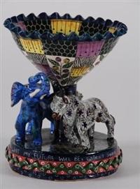 pedestal vase (decorated by wonderboy nxumalo) by ardmore ceramics