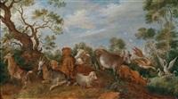 ziegen, kühe und gänse in einer bewaldeten landschaft by gillis claesz de hondecoeter