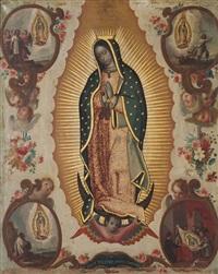 virgen de guadalupe con cartelas de las cuatro apariciones, flores y ángeles by miguel cabrera