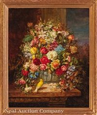still life with flowers, bird and butterflies by hans zatzka