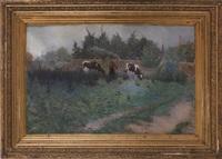 vue de waasmunster avec paysan et vaches devant chapelle by edmond verstraeten