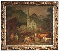 emsiges treiben rund um den brunnen eines dörflichen kirchplatzes by johann baptiste heinefetter