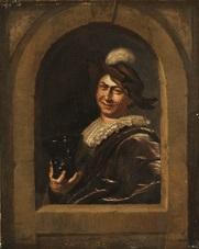 junger mann mit weinpokal an der fensterbrüstung by frans van mieris