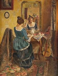 mädchen im langen blauen kleid vor einem spiegel sitzend by a. ziegler