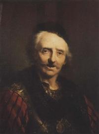 tête de vieillard en armure portant une médaille by jacques des rousseaux