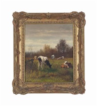 cattle grazing (pair) by william frederick hulk