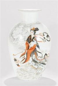 墨彩描金「嫦娥奔月」瓷瓶 (porcelain vase) by xia zhongyong