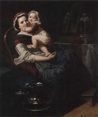 eine sitzende mutter hält ihr kind auf dem arm, das sich liebevoll an deren wange anschmiegt by eduard geselschap