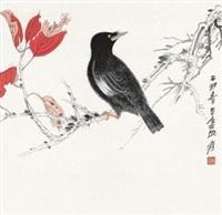 红叶鸣禽图 镜片 设色纸本 by zhang daqian