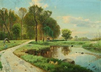 forest with cart on a path along a lake by julius andersen