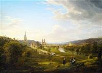 neckarlandschaft mit blick auf esslingen, wo sich die türme der stadt- und frauenkirche deutlich abzeichnen by johann theodor goldstein