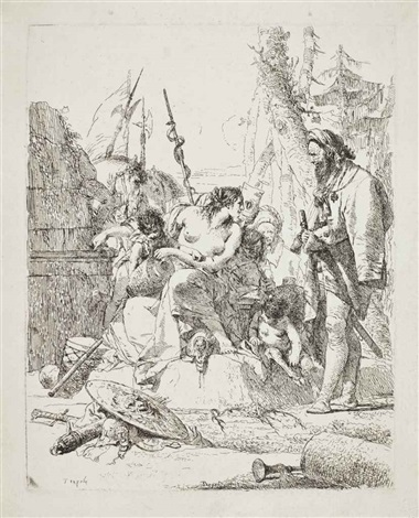 a half dressed nymph with two children surrounded by four men plate 3 from scherzi by giovanni battista tiepolo