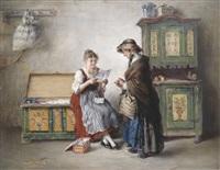 bäuerliches interieur mit mutter und tochter beim brieflesen by otto piltz