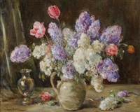 still life with tulips and hyacinths in a jug by owen bowen